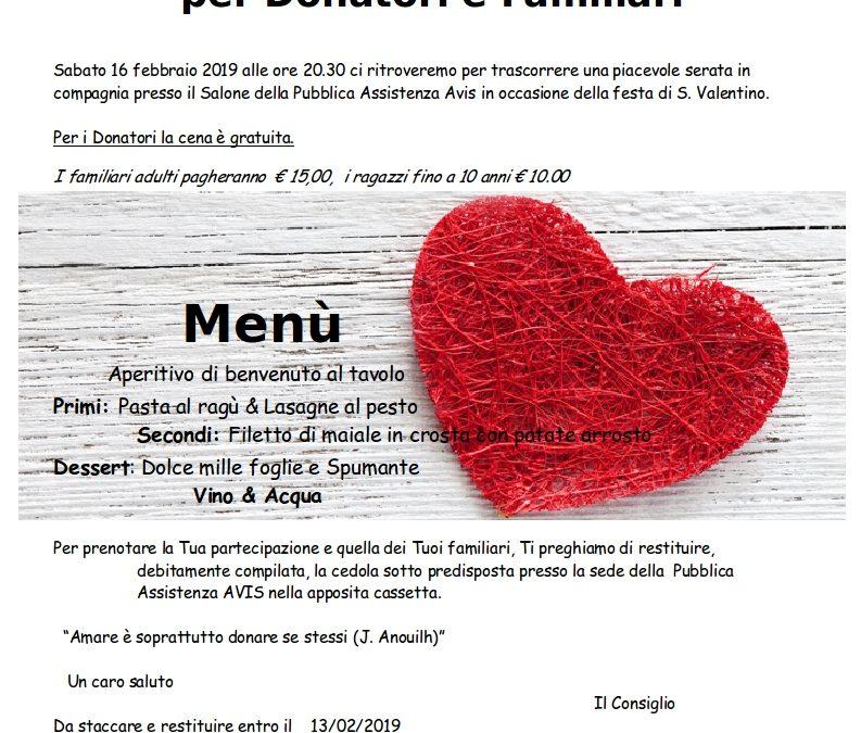 CENA DI S. VALENTINO 16 FEBBRAIO 2019